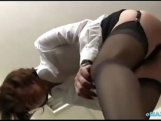 Office Lady Sitting To Guy Face Getting Her Hairy Pussy Licked In The Office