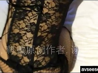 Chinese amateur housewife with sexy lingerie taking homemade video
