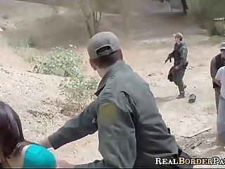 Border Gaurd Blackmails Illegal Spanish Pussy
