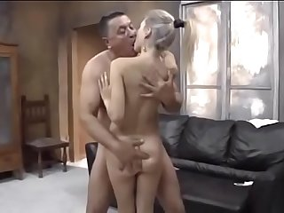 Young Russian blonde with old guy