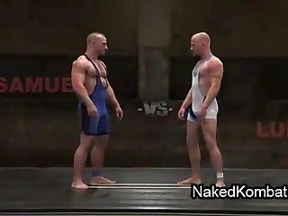Two muscle nude gays wrestling and then put in blowjob