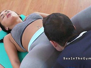 Fitness coach licks wet pussy brunette