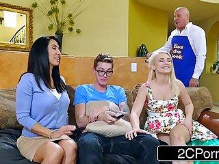 Tempting Teen Couple Invite Latina MILF to Suck Big Cock: Aubrey Gold, Isis Love
