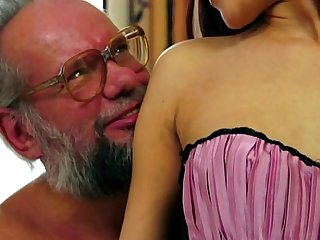 Old man enjoy's Lyen's crotchless panties