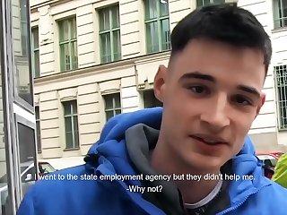 Czech dude suck fuck hard cock for some extra cash - CZECH HUNTER